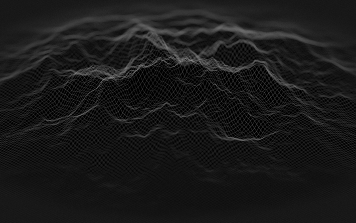 Download wallpapers black abstract texture, waves texture, black ...