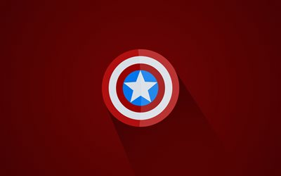 Captain America Shield, 4k, minimal, superheroes, red background, creative, Shield of Captain America