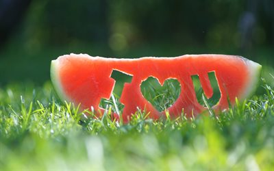 I Love You, 4k, love concepts, slice of watermelon, bokeh, green grass, watermelon