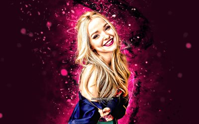 Dove Cameron, 4k, purple neon lights, Hollywood, american actress, movie stars, Dove Olivia Cameron, american celebrity, Dove Cameron 4K
