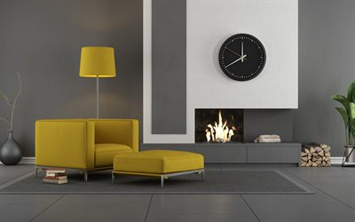 gray stylish living room interior, minimalism in the living room, beautiful stylish interior, modern interior design, yellow sofas in the living room