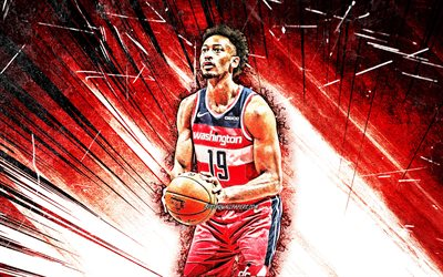 4k, Johnathan Williams, Grunge taide, Washington Wizards, NBA, koripallo, Johnathan Lee Williams III, YHDYSVALLAT, Johnathan Williams Washington Wizards, punainen abstrakti säteet, Johnathan Williams 4K