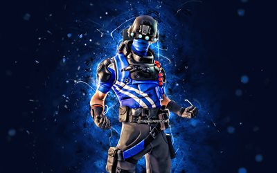Carbon Commando, 4k, blue neon lights, 2020 games, Fortnite Battle Royale, Fortnite characters, Carbon Commando Skin, Fortnite, Carbon Commando Fortnite