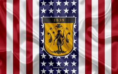 Framingham State University Emblem, American Flag, Framingham State University logo, Framingham, Massachusetts, USA, Framingham State University