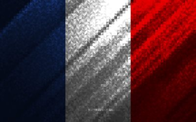 Flag of France, multicolored abstraction, France mosaic flag, Europe, France, mosaic art, France flag
