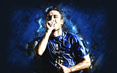 Francesco Totti, Équipe d'Italie de football, portrait, joueur de football italien, fond de pierre bleue, Italie, football