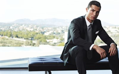 Cristiano Ronaldo, Portuguese footballer, photoshoot, CR7, Cristiano Ronaldo in black suit, world football star