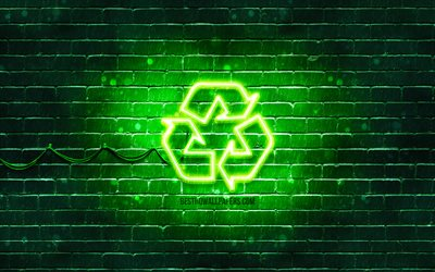 Recycling neon icon, 4k, green background, neon symbols, Recycling, creative, neon icons, Recycling sign, ecology signs, Recycling icon, ecology icons
