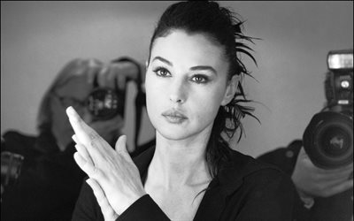 Monica Bellucci, portrait, black and white, Italian actress, beautiful woman, brunette