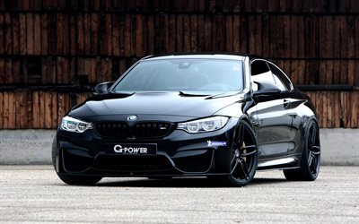 bmw m4 coupe, g-power, f82, schwarz bmw m4 tuning, sport coupe