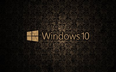 Windows 10, vintage, modello, logo, sfondo marrone, logo di Windows 10, Microsoft