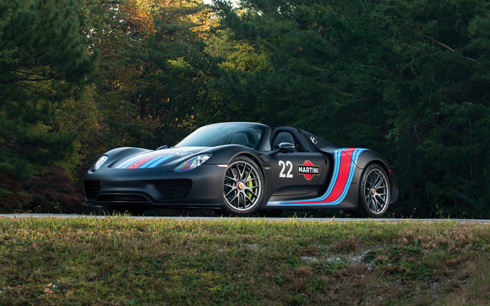 4k, Porsche 918 Spyder, Road, 2017 Cars, Martini Racing, Tuning,