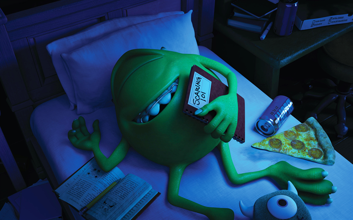 Download wallpapers mike wazowski 4k monster 3d animation mike wazowski 4k monster 3d animation monsters university voltagebd Images