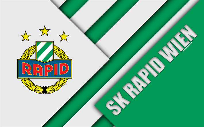 SK Rapid Wien Austrian Football Club 4k Material Design Green White Abstraction