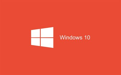 windows 10, minimal, art, rote, hintergrund, logo, windows-10-logo, microsoft