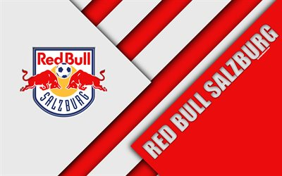 FC Red Bull Salzburg, Austrian football club, 4k, material design, red white abstraction, Austrian Football Bundesliga, Salzburg, Austria, football