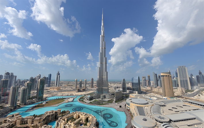 Download Wallpapers 4k, Burj Khalifa, Panorama, Modern