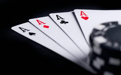 4k, playing cards, poker, aces, quads