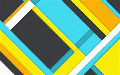 4k, material design, geometric shapes, polygons, art, colorful background, geometry, strips, lines