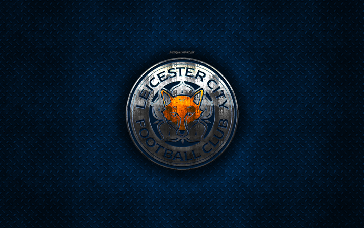 Download Wallpapers Leicester City Fc Lcfc English Football Club Blue Metal Texture Metal Logo Emblem Leicester England Premier League Creative Art Football For Desktop Free Pictures For Desktop Free