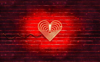 Love neon icon, 4k, red background, neon symbols, Love, creative, neon icons, Love sign, heart icon, love signs, Love icon, love icons, love concepts