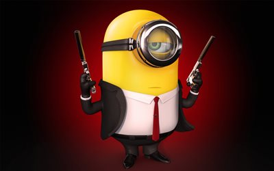 Minion, 4k, security guard, Minions, Despicable Me, 3d-animation