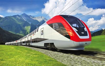 Bombardier Twindexx, high-speed train, double-decker train, Swiss Express, modern trains