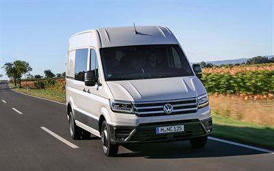 Volkswagen Crafter, 2017, 4k, van, minibus, new white Crafter, German cars, cargo transportation, Volkswagen