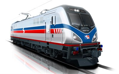Siemens ACS-64, 4k, Amtrak Cities Sprinter, electric locomotive, trains, SEPTA