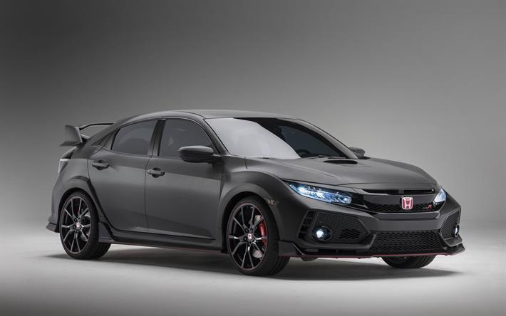 Download Wallpapers Honda Civic Type R 2018 4k Tuning Black