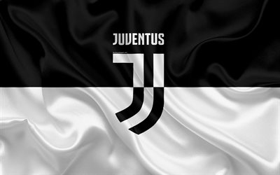 4k, Juventus, Italy, black and white, football club, Serie A, new Juventus emblem, silk flag