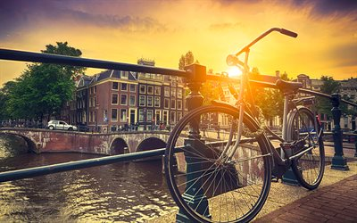 Amsterdam, 4k, bicycle, Netherlands, Europe