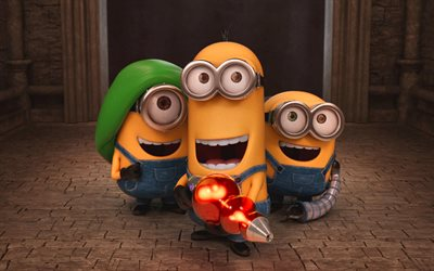 minions, weapon, Bob, Kevin, Stewart, cartoon characters
