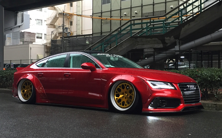 Audi A7, RSRversion, NEWING-inc Alpil, red A7, tuning A7, sports sedan, German cars, gold wheels, Audi