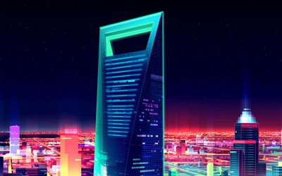 Shanghai World Financial Center, 4k, 3d art, neon, night, skyscrapers, Shanghai, China