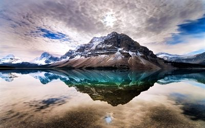 Bow Lake, clouds, mountains, canadian landmarks, Banff National Park, Canada