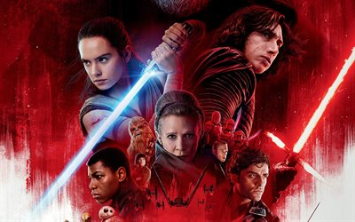 Star Wars, The Last Jedi, 2017, 4k, Mark Richard Hamill, Daisy Ridley, Carrie Fisher, poster, new movies
