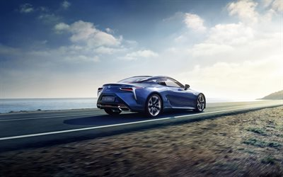 Lexus LC 500h, 2018, rear view, 4k, sparrow, blue sports coupe, Japanese cars, new LC, Lexus