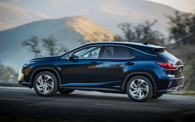 Lexus RX, 450h, 2017, blue new RX, crossovers, Japanese cars, Lexus