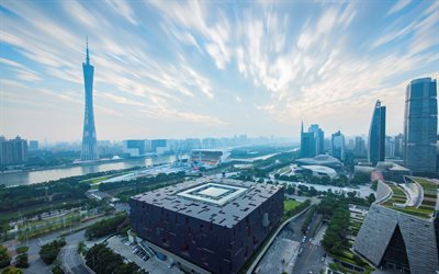 Guangzhou, Canton Tower, modern city, metropolis, skyscrapers, China, tallest Chinese building