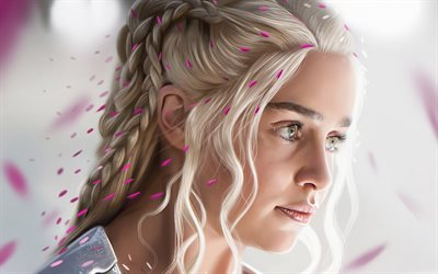 Daenerys Targaryen, Game of Thrones, Emilia Clarke, 4k, art
