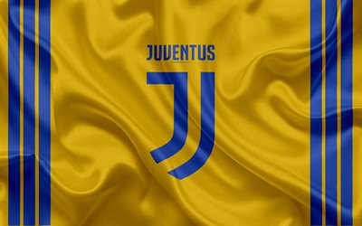 Juventus, 4k, Italy, football club, Serie A, football, yellow kit, new Juventus emblem