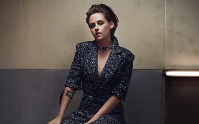 Kristen Stewart, 4k, American actress, portrait, fashion model, gray female costume