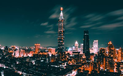 4k, Taipei 101, skyscrapers, nightscapes, modern buildings, Taiwan, China, Asia