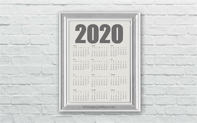 2020 Calendar, all months, calendar 2020 in frame, stone wall, wooden frame, white brick wall, 2020 concepts, 2020 New Year