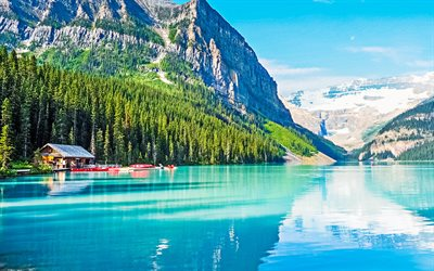 Lake Louise, morning, mountain lake, rocks, mountain landscape, glacial lake, Banff National Park, Alberta, Canada