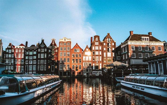 تحميل خلفيات أمستردام صباح شروق الشمس عاصمة هولندا المدينة