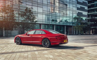2021, Bentley Flying Spur, rear view, exterior, luxury sedan, new red Flying Spur, British cars, Bentley