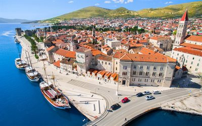 Trogir, summer, coast, Adriatic sea, resort, Trogir cityscape, Croatia