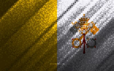 Flag of Vatican City, multicolored abstraction, Vatican City mosaic flag, Vatican City, mosaic art, Vatican City flag